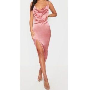 PrettyLittleThing Rose Strappy Satin Dress